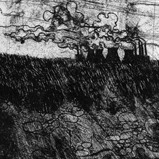 etching showing grimy atmospheric industrial landscape