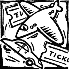 bold lively design in woodcut style of travel items - car, aeroplane, tickets