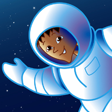 friendly astro kid floating in space waving