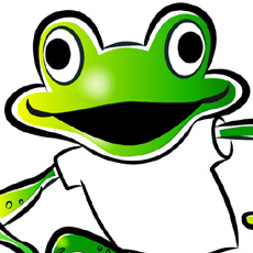 head of laughing cartoon frog