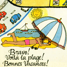 detail from cartoon board game all about holidays