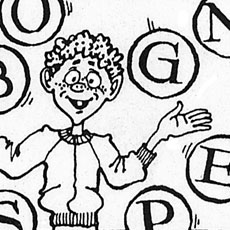detail of cartoon kid juggling lettered balloons