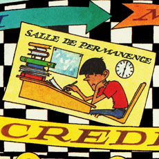 detail from cartoon board game all about school