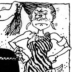 cartoon of stone-age woman annoyed at having hair pulled