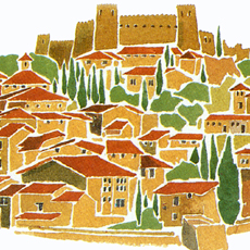 stylised painting of spanish hilltop village