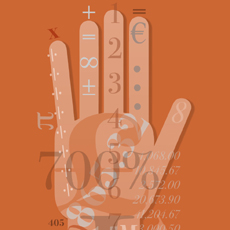 graphic image of hand with numbers and acountancy symbols