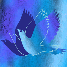 stylised flying doves in blues for greetings card design