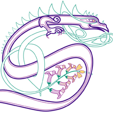 flowery dragon in s-shape for logo design