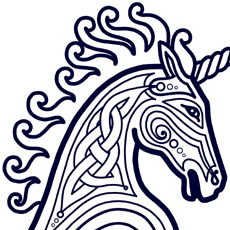 celtic style design of unicorn head