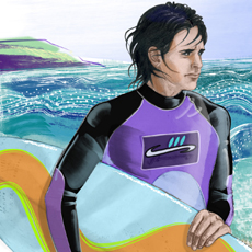 digital painting of teenage boy on the seashore carrying surfboard