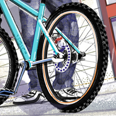 digital painting showing closeup of boy with mountainbike on street