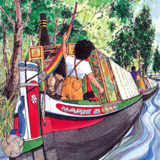 painting of painted narrow boat on canal steered by little girl