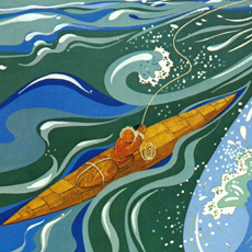 painting of Inuit in kayak on foaming sea throwing harpoon