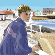 digital painting of boy on seafront gazing at scene