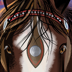 detail from digital painting of gentle shire horse head