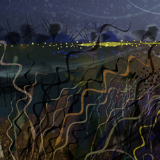 detail from digital painting of mysterious landscape at nightfall