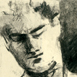 detail from charcoal sketch of young man