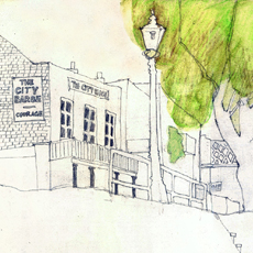 pencil sketch of old riverside pub